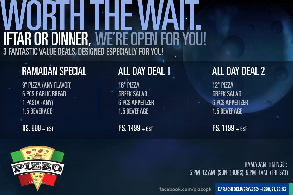 Iftar deal from Pizzo