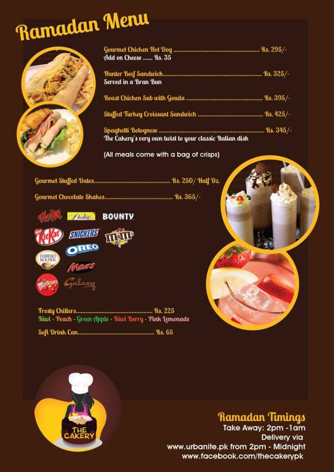 Cakery Ramazan menu